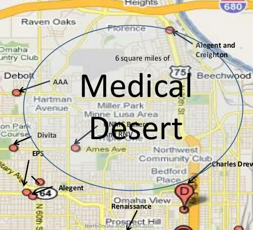 A map of the medical desert in North Omaha by Ira Combs, the Community Liaison Nurse Coordinator at the University of Nebraska Medical Center.