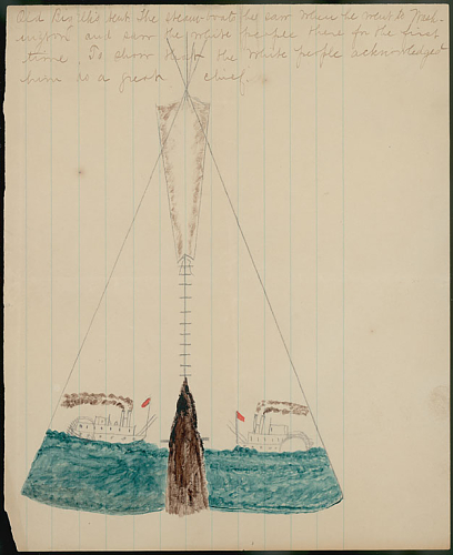 This is a drawing of Omaha chief Big Elk's tipi from 1867, drawn by Omaha pioneer George Miller.