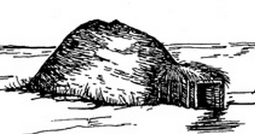 An American Indian earth lodge, circa 1200 A.D.