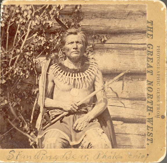 This is a c1907 pic of Chief Standing Bear outside his home.
