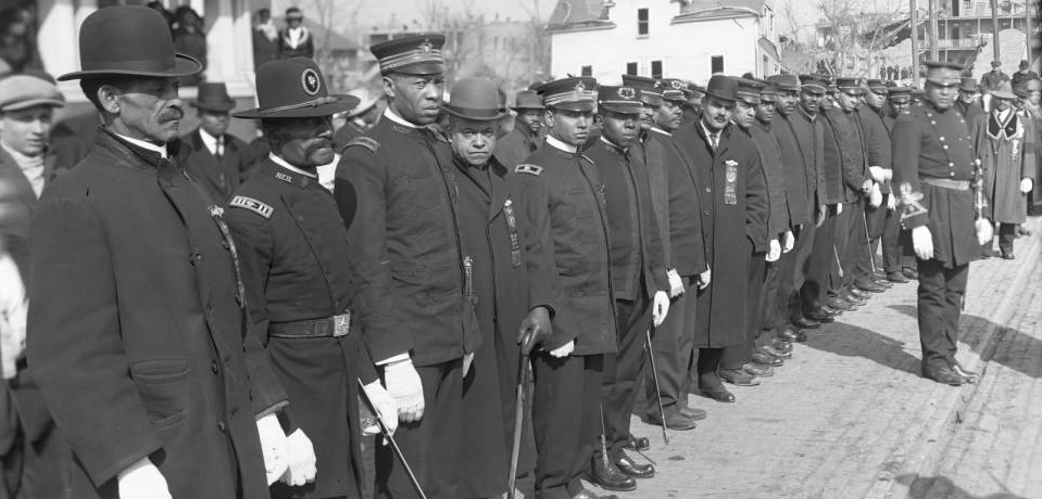 Uniformed Black fraternity members and former soldiers, North Omaha, Nebraska