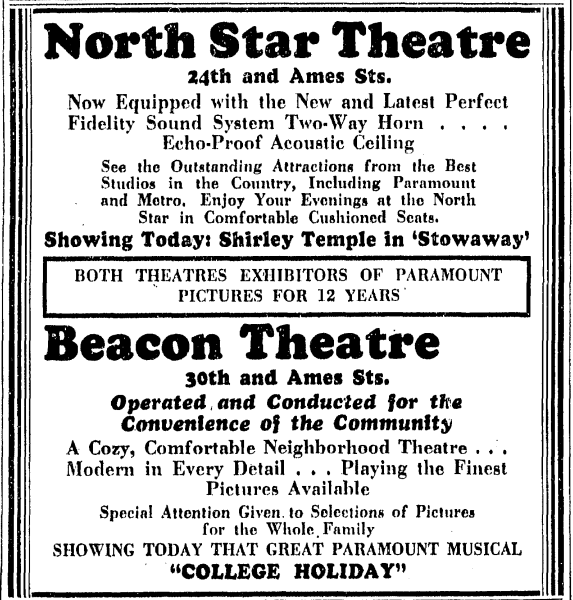 An ad for the North Star and Beacon Theatres in North Omaha, Nebraska.