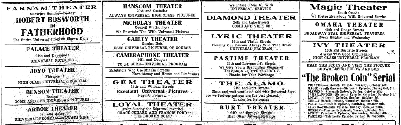 North Omaha Theatres in 1914