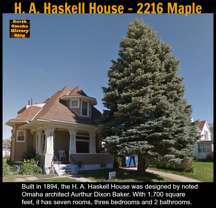 H. A. Haskell House, 2216 Maple Street in the Near North Side, North Omaha, Nebraska.