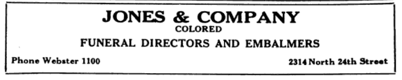 Jones and Company Colored Funeral Directors and Embalmers, 2314 North 24th Street, North Omaha, Nebraska