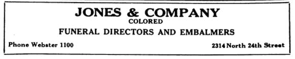 Jones and Company Colored Funeral Directors and Embalmers, 2314 North 24th Street, North Omaha, Nebraska