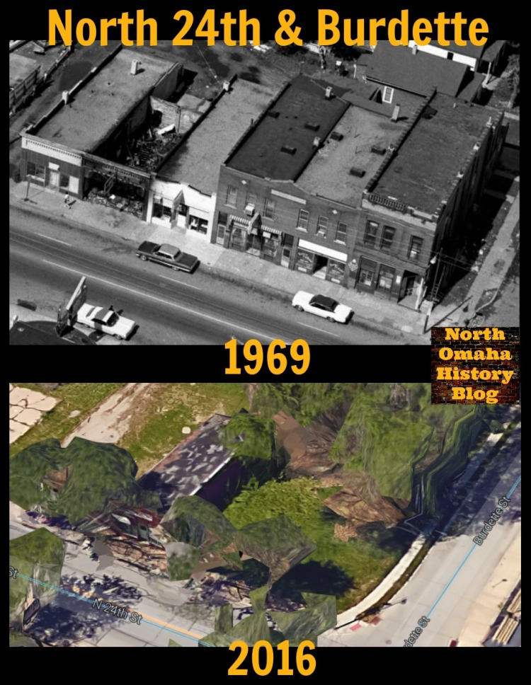 North 24th and Burdette Streets in 1969 and again in 2016, showing the devastation in the Long School neighborhood.