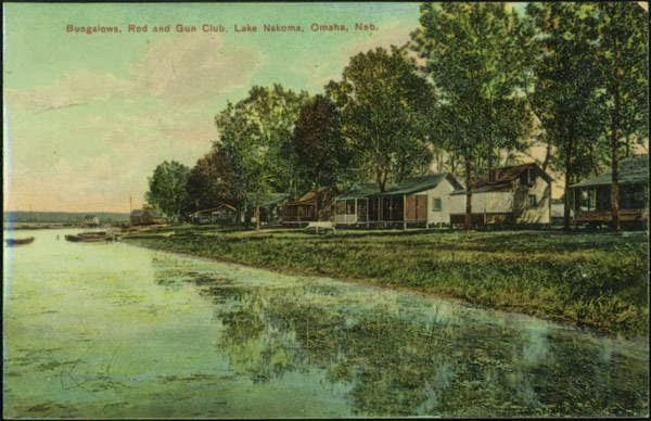 "A circa 1900s postcard that reads ""Bungalows, Rod and Gun Club, Lake Nakoma, Omaha, Neb."""