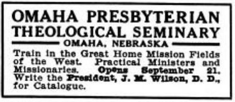 Omaha Presbyterian Theological Seminary advertisement