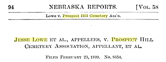 1899 court briefing from Lowe v. Prospect Hill Cemetery
