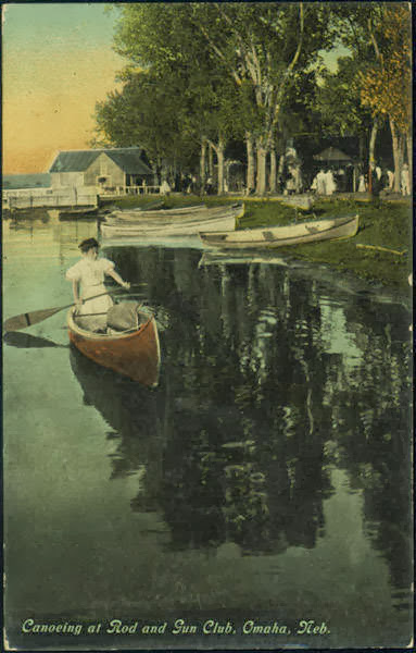 """Canoeing at Rod and Gun Club, Omaha, Neb"" Postcard, circa 1908"