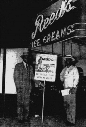 Picketing against Reed's Ice Cream racist hiring practices in Omaha in 1953