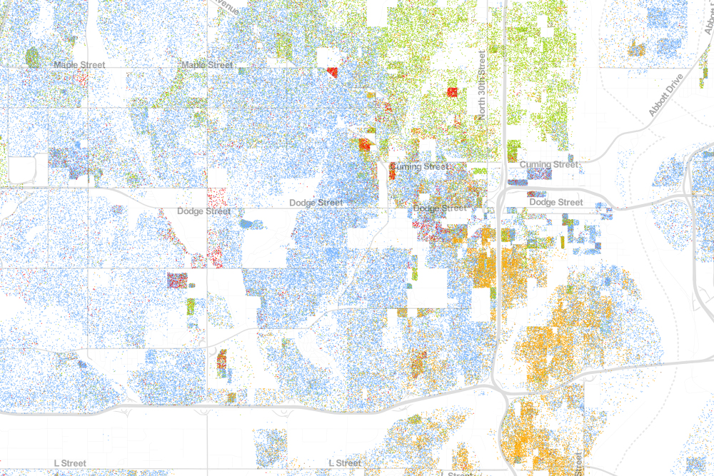This is a visual map of the racial composition of Omaha as of 2010. Green represents African American; orange, Hispanic/Latino; red, Asian American; blue, white. From the Racial Dot Map at https://demographics.virginia.edu/DotMap/index.html