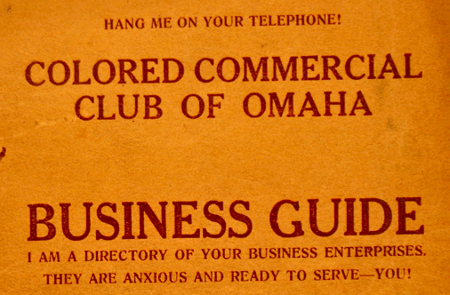 Omaha Colored Commercial Club 1925 Business Guide, North Omaha, Nebraska
