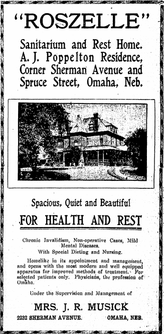 Roszelle Sanitarium and Rest Home, 2232 Sherman Ave, North Omaha, Nebraska