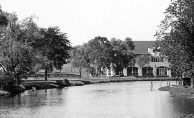 Enlargement of Miller Park pond photograph shows bridge near Prettiest Mile Clubhouse by Bostwick and Frohardt in 1917 at North Omaha, Nebraska