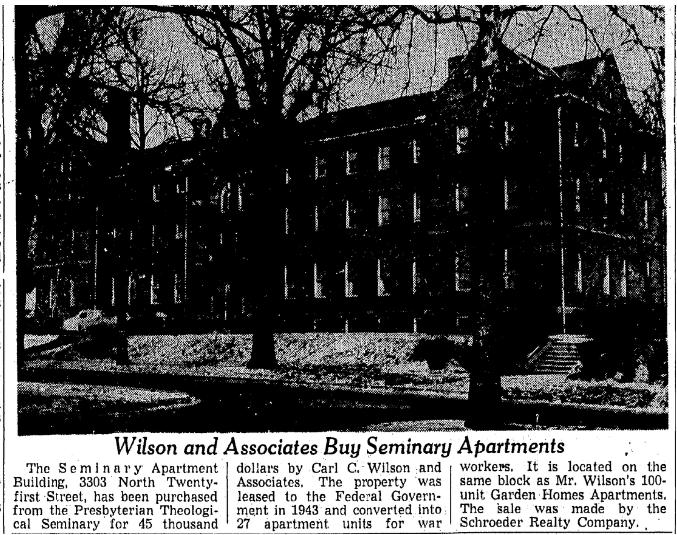 Seminary Apartments, North Omaha, Nebraska.