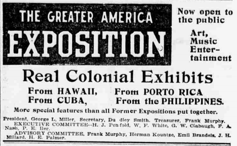 Advertisement for the Greater America Exposition of 1899