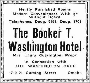 Booker T. Washington Hotel, 1917 Cuming Street, Omaha, Nebraska