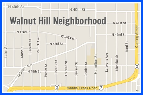 A map of the Walnut Hill neighborhood.