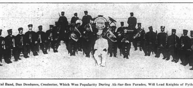 This is a 1913 image of the Dan Desdunes Band in Omaha.