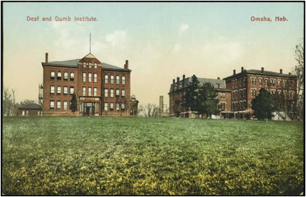 "The Nebraska School for the Deaf was called the ""Deaf and Dumb Institute"" in the 1910s when this postcard was made."