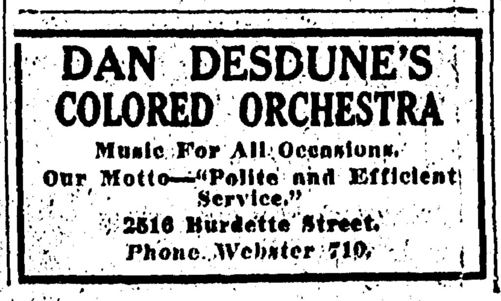 Dan Desdunes Orchestra 1920, North Omaha, Nebraska