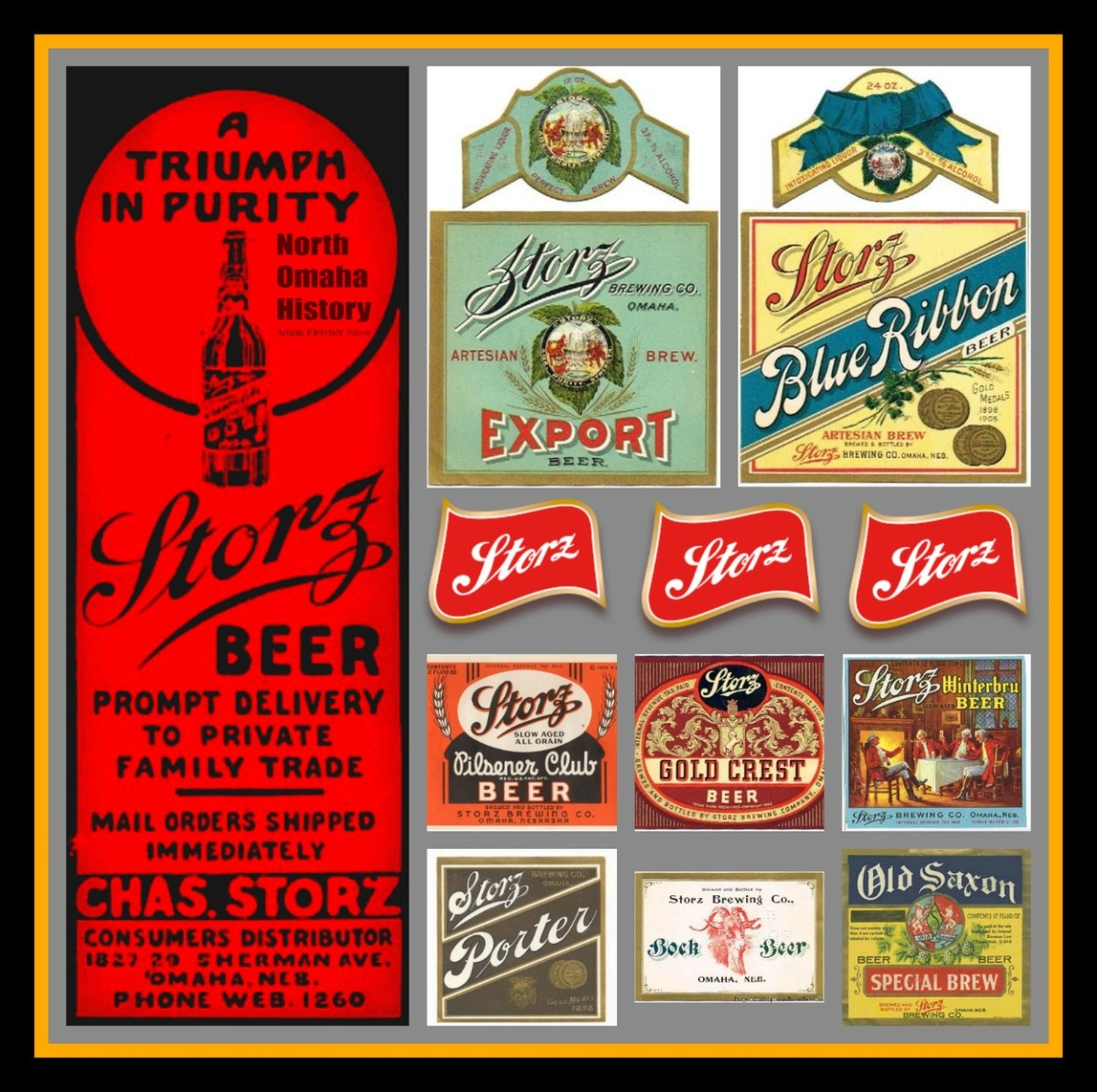 Pictured here are labels for Storz Porter, Storz Old Saxon, Storz Pilsner Club, Storz Gold Crest, Storz Winterbru, Storz Export, Storz Blue Ribbon, and Storz Triumph