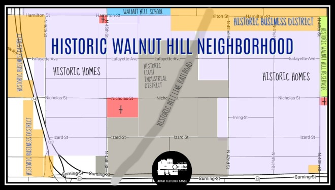 Map of historic Walnut Hill North Omaha Nebraska