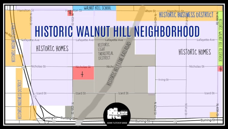 Map of historic Walnut Hill neighborhood North Omaha Nebraska