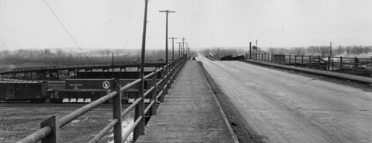 Looking east from North 14th and Locust Streets, the Locust Street viaduct is seen going over the Missouri Pacific Railroad in the 1940s.