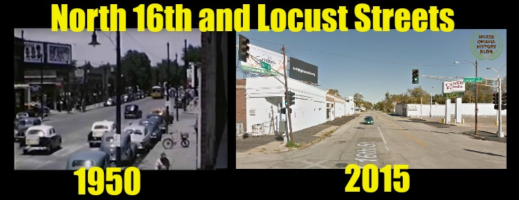 This is a then-and-now comparison of the intersection of North 16th and Locust Streets in North Omaha, Nebraska, between 1950 and 2015.