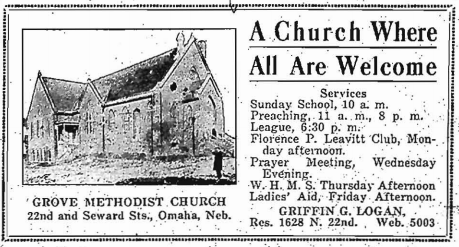 An early ad for the segregated Grove Methodist Church at 22nd and Seward Streets in North Omaha, Nebraska