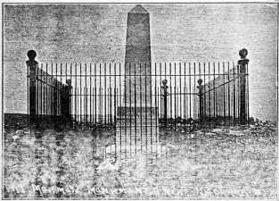 This is an early 1900s image of an obelisk marking a grave in the Mormon Cemetery in North Omaha. Its not there anymore.
