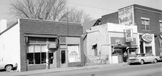 Zion Wheel Baptist Church at 2822 1/2 North 16th Street; the Locust Street Liquor Store; and a Max I. Walker Dry Cleaners at North 16th and Locust Streets, North Omaha, Nebraska