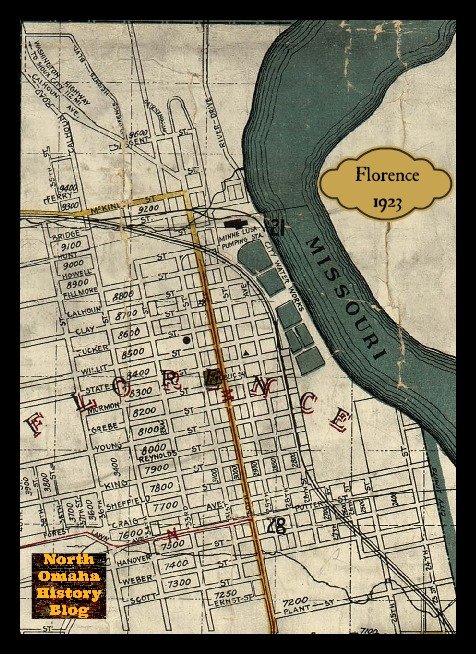 Florence, Nebraska map from 1923