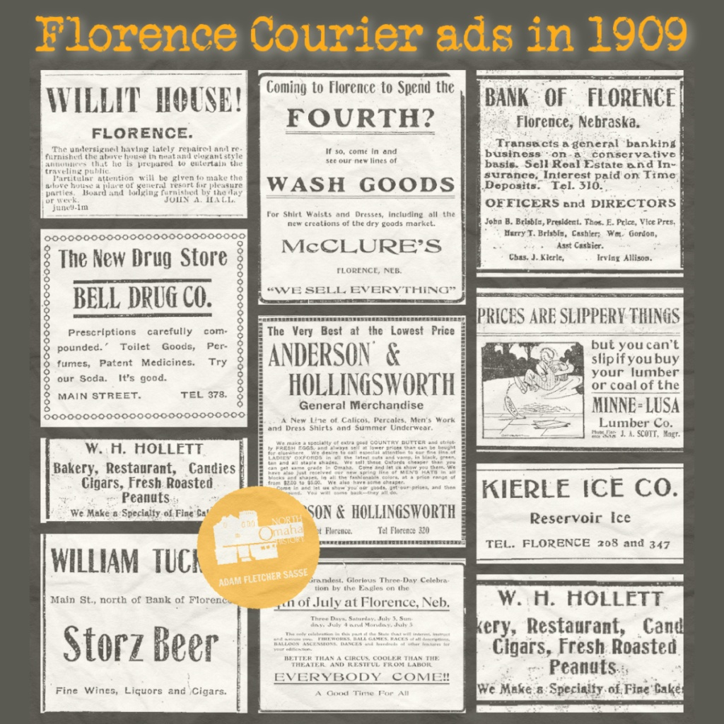 Florence Courier ads in 1909