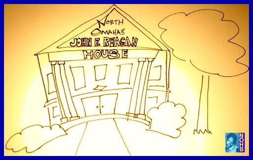 A drawing of the John E. Reagan House in North Omaha, Nebraska by Adam Fletcher Sasse.
