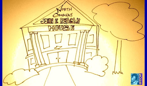 A drawing of the John E. Reagan House in North Omaha, Nebraska by Adam Fletcher Sasse.