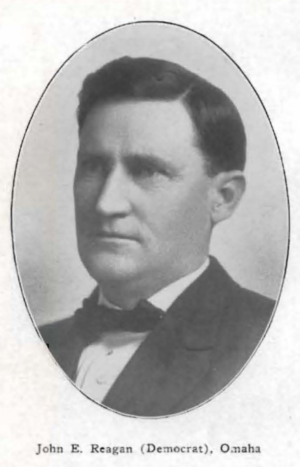 John E. Reagan (1867 to 19??) was a Nebraska state legislator, lawyer and businessman in North Omaha, Nebraska.