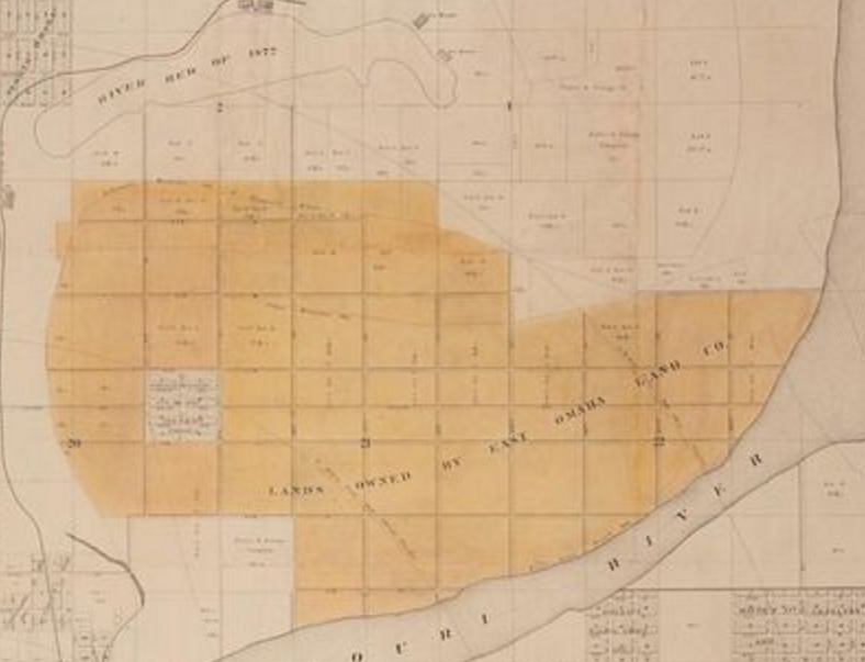 1880s map of East Omaha, Nebraska and Carter Lake, Iowa