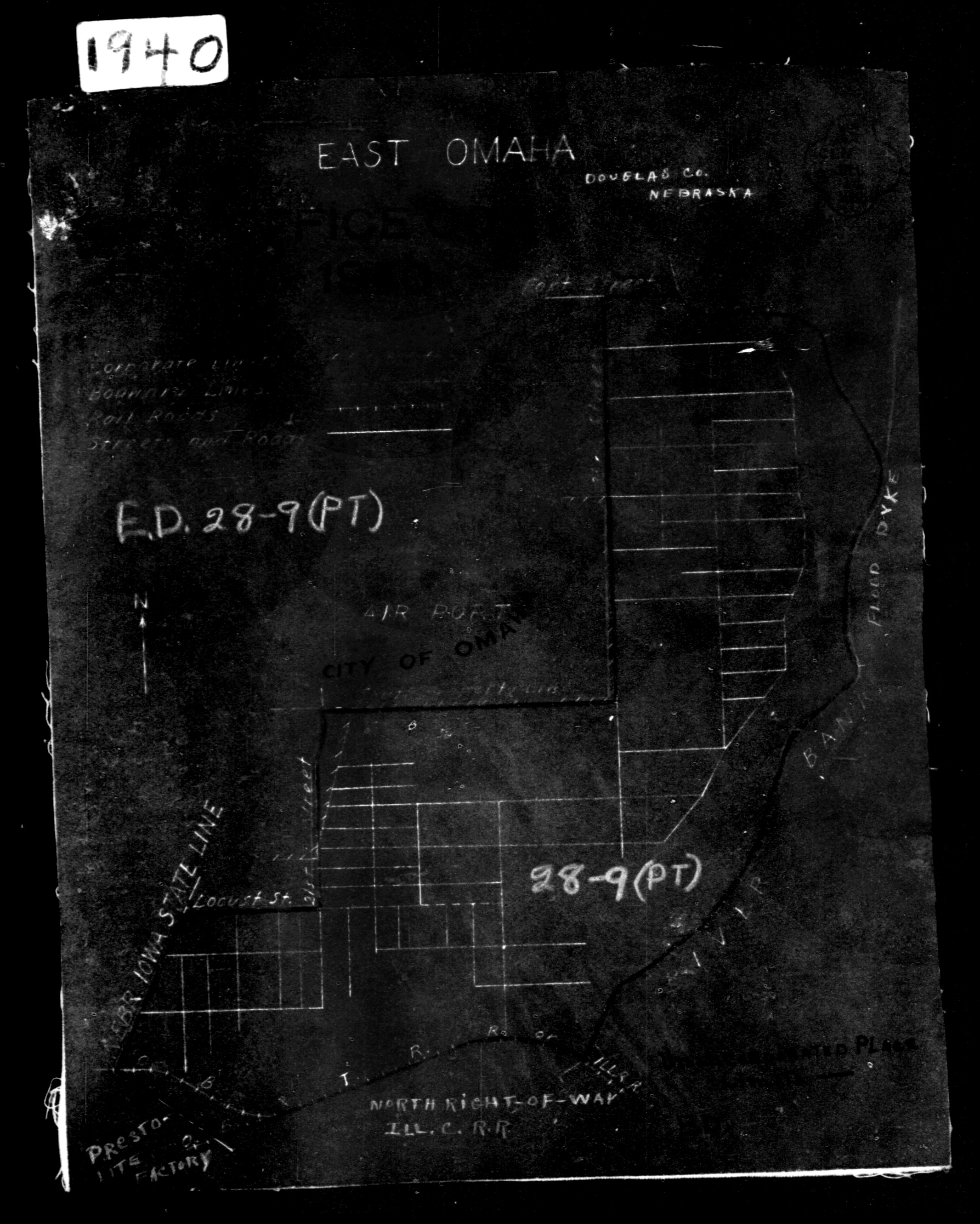 Map of East Omaha, Nebraska in 1940