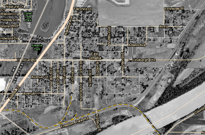 this 1940 aerial map shows east omaha was south of the present day eppley airport east of abbott drive and north of the river