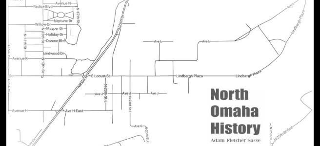 This is a line map of the former town of East Omaha, Nebraska