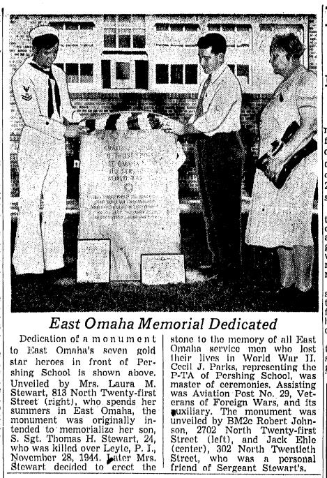Pershing School World War II Monument East Omaha Nebraska