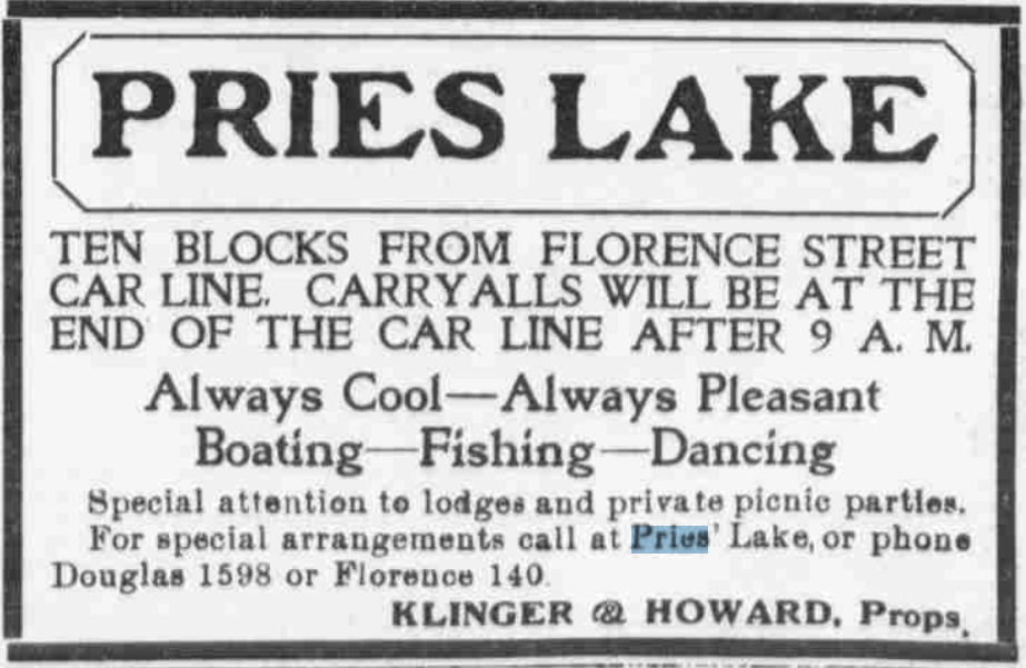 "This is a circa 1892 ad for Pries Lake, offering ""Always Cool - Always Pleasant - Boating - Fishing - Dancing."""