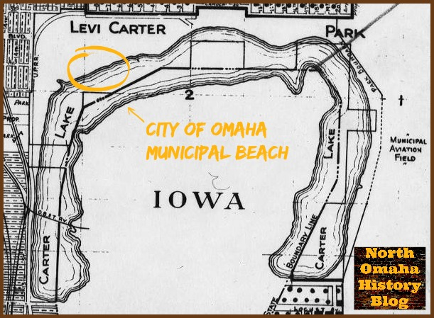 Omaha Municipal Beach at Carter Park in the 1930s.