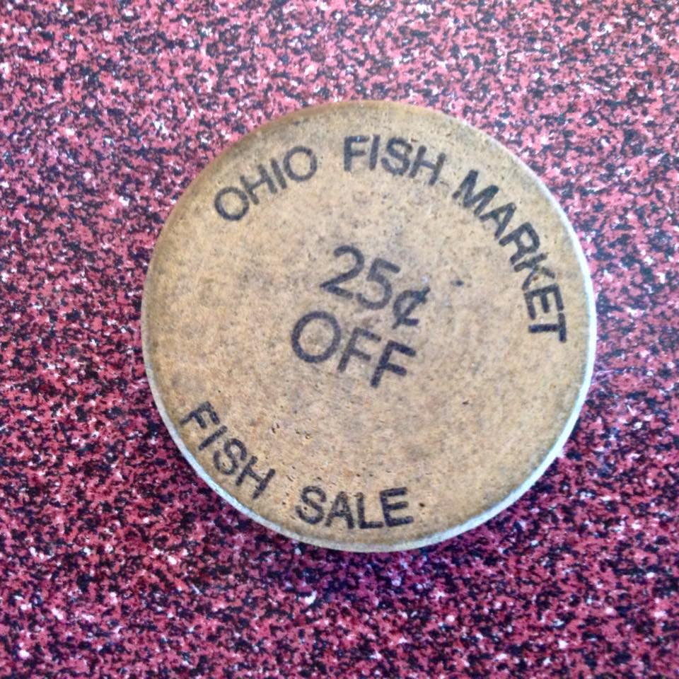This is an Ohio Fish Market token that worked like a coupon, circa 1965.