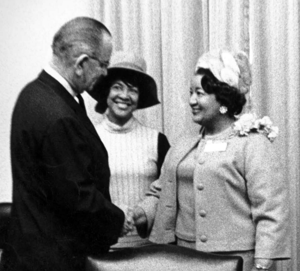 Mildred Brown and President Lyndon B. Johnson