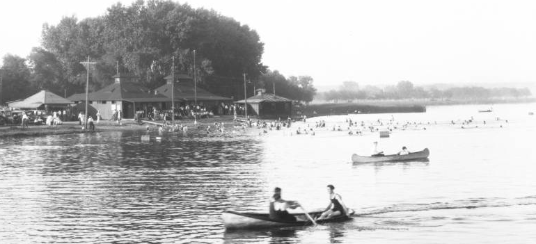 Canoeists at Omaha Municipal Beach 1930s